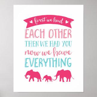 Nu hebben wij alles de druk van het olifantsposter poster