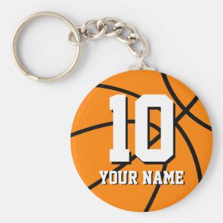 Nummer 10 Personaliseerbare basketbalsleutelhanger Basic Ronde Button Sleutelhanger
