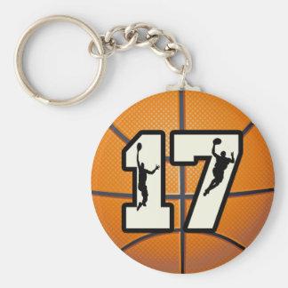 Nummer 17 Basketbal en Spelers Sleutelhanger