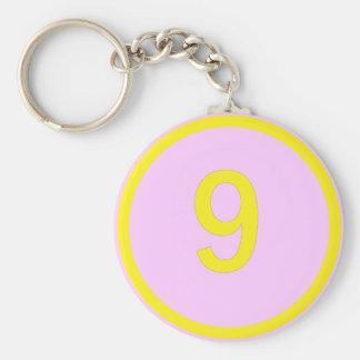 nummer 9 in een cirkel sleutelhanger