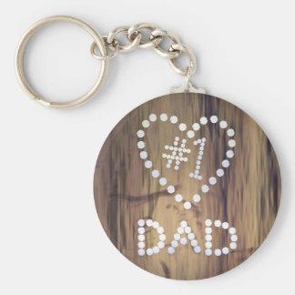 Nummer Één Papa op de Achtergrond van de houten-Bl Basic Ronde Button Sleutelhanger