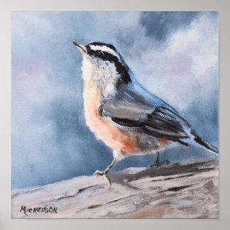 Nuthatch van de vogel de Fijne Druk van de Kunst Poster