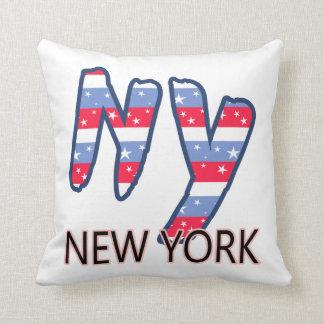 NY - Rode Wit van het Citaat van New York en Blauw Sierkussen
