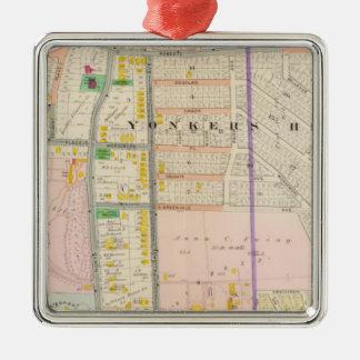 NY van Yonkers de Atlas van de Kaart Zilverkleurig Vierkant Ornament