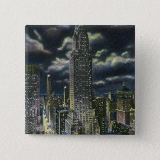 NYC, de Nieuwe Bouw YorkChrysler bij Nacht # 1 Vierkante Button 5,1 Cm