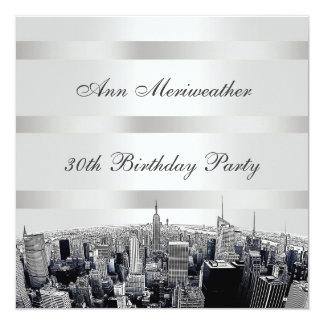NYC Geëtste Horizon 2 Zwarte Witte Verjaardag Kaart