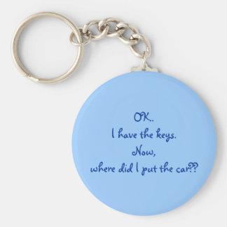 O.K. Ik heb de sleutels. Nu, waar zette ik de auto Basic Ronde Button Sleutelhanger
