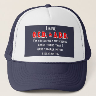 Ocd-VOEG toe Wit/Rood Trucker Pet