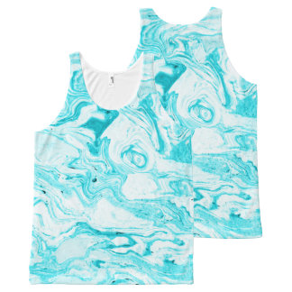 Oceaan Blauw Marmer All-Over-Print Tank Top