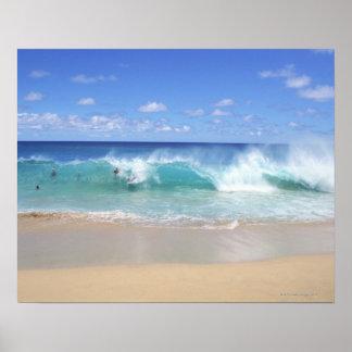 Oceaan golven die op het strand, Zandig Strand Poster