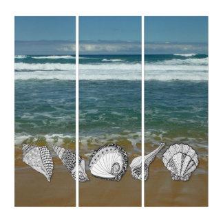 Oceaan met Hand Getrokken Zeeschelpen Drieluik