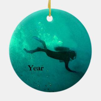 Oceaan Scuba-duiker Rond Keramisch Ornament