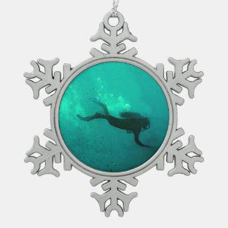 Oceaan Scuba-duiker Tin Sneeuwvlok Ornament