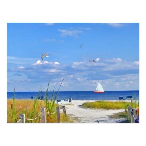 Oceaan strand en het briefkaart van de zeilboot zazzle - Strand zwembad zonder grenzen ...