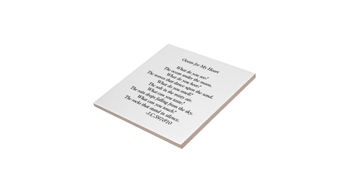 Oceaan voor mijn gedicht van het hart tegeltje vierkant small zazzle - Mijn home design ...