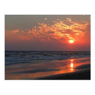 Oceaan Zonsondergang - Eiken Eiland, NC Briefkaart