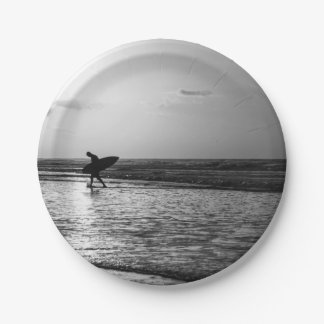 Ochtend Surfer Grayscale Papieren Bordjes