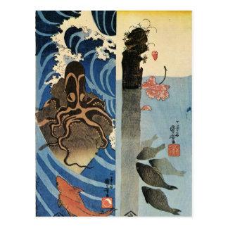 Octopus, Rode Vissen door Utagawa Kuniyoshi Briefkaart