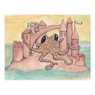 Octopus & Zandkasteel Briefkaart