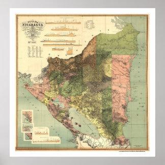 Officiële Kaart van Nicaragua 1898 Poster