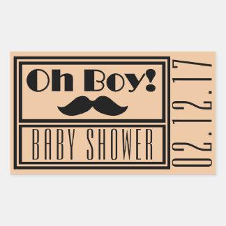 Oh Baby shower van de Snor van de Jongen het Rechthoekige Sticker