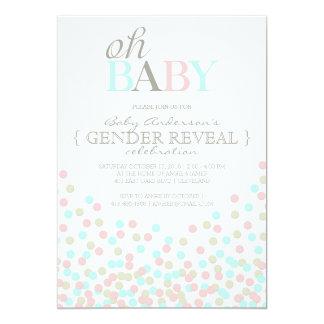 Oh het Geslacht van de Confettien van het Baby 12,7x17,8 Uitnodiging Kaart