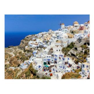 Oia dorp op Santorini eiland, het noorden, Briefkaart