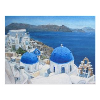 Oia van Santorini olieverfschilderij Briefkaart