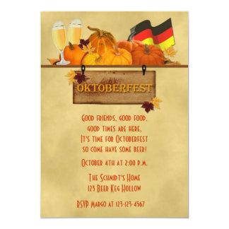 Oktoberfest, Pompoenen, Bier 12,7x17,8 Uitnodiging Kaart