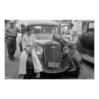 Oldtimer, de Grote Familie van de Depressie, jaren Poster