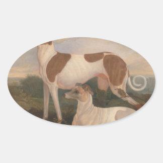 olieverfschilderijen van windhonden ovaalvormige sticker