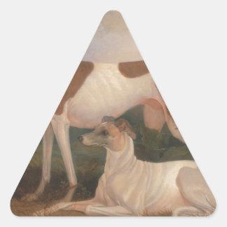 olieverfschilderijen van windhonden driehoekige stickers