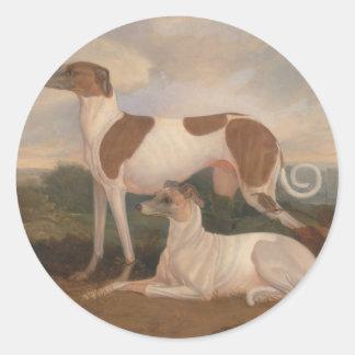 olieverfschilderijen van windhonden ronde stickers