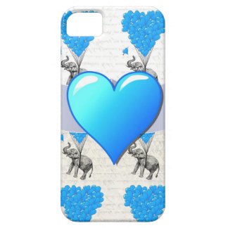 Olifant & blauwe hartballons barely there iPhone 5 hoesje