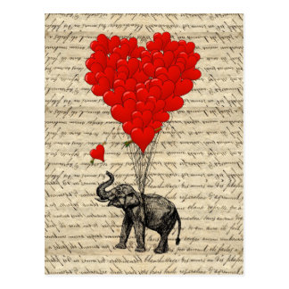 Olifant en hart gevormde ballons briefkaart