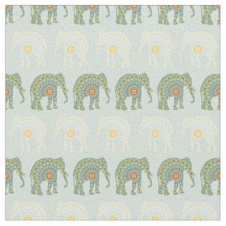 Olifant en Patroon Mandala in Lichtgroen Stof