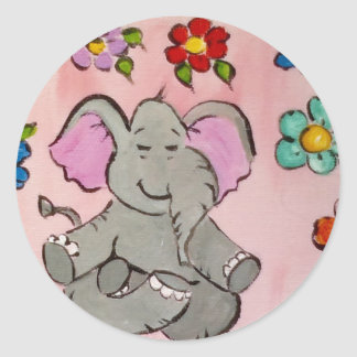 Olifant in meditatie ronde sticker