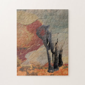 Olifant in Rotsachtig Landschap Legpuzzel