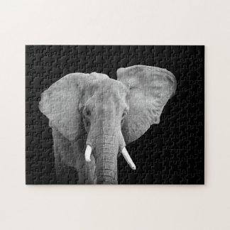Olifant in Zwart-wit Puzzel