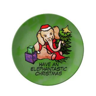 Olifant van de Cartoon van Kerstmis van Porselein Bord