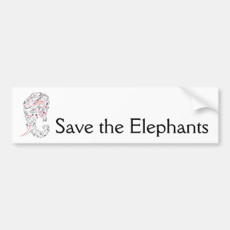 olifant versierd sparen de olifanten bumpersticker