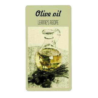 Olijfolie en bieslooketiket etiket
