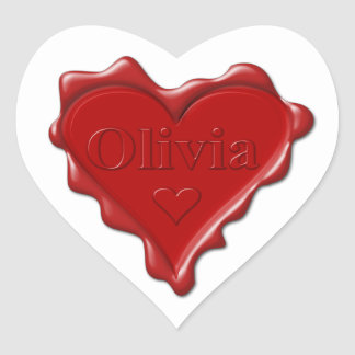 Olivia. De rode verbinding van de hartwas met naam Hart Sticker
