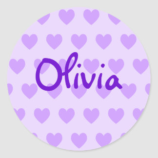 Olivia in Paars Ronde Sticker