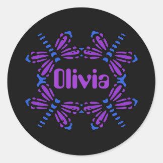 Olivia, libellen in blauw & paars op zwarte ronde sticker