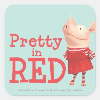 Olivia - Mooie in Rood Vierkante Sticker
