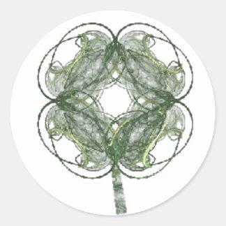 Om Fractal van de Klaver van Vier Blad Art. Ronde Stickers