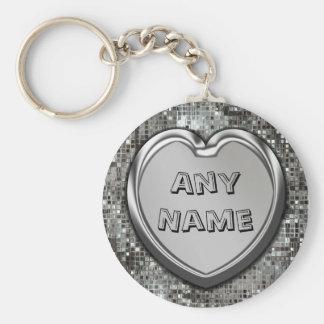 Om het even welke Naam op Zilveren Hart Keychain Basic Ronde Button Sleutelhanger