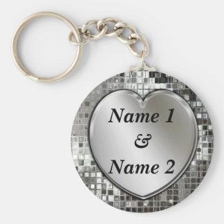 Om het even welke Namen op Zilveren Hart Keychain Basic Ronde Button Sleutelhanger