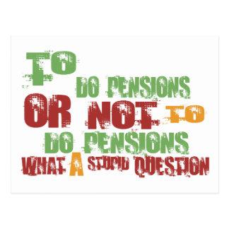 Om pensioenen te doen briefkaart